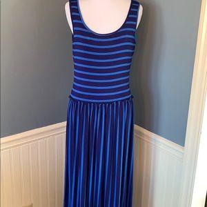 Calvin Klein Blue Striped Jersey Knit Maxi Dres 4